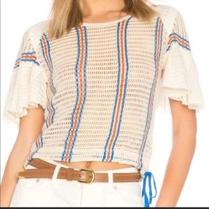 NWT Free People Babes Only Open Knit Striped Tee